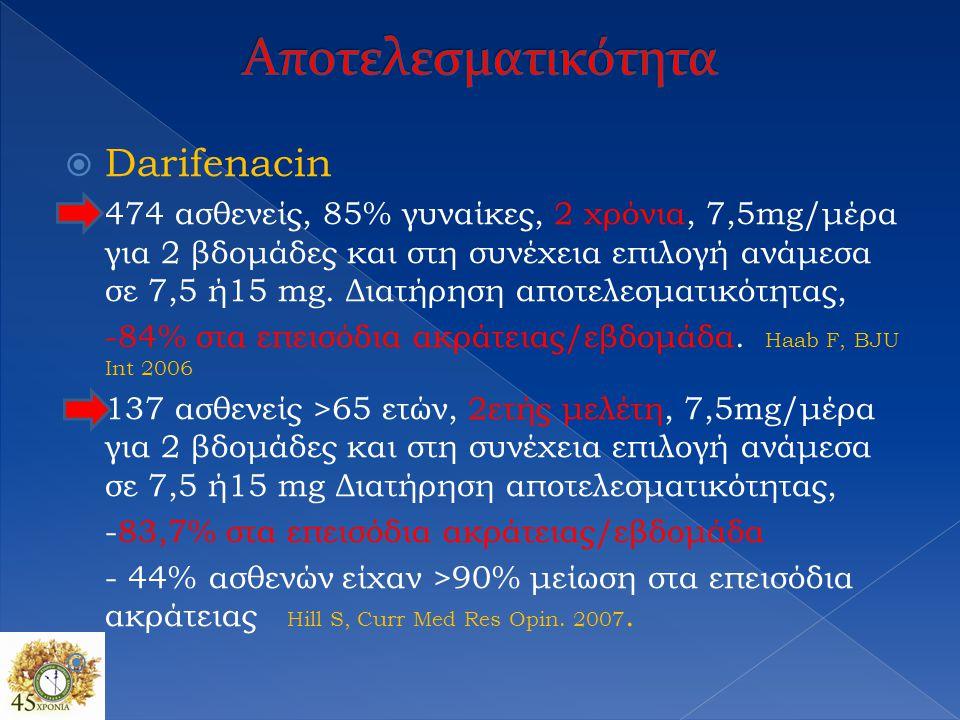 Αποτελεσματικότητα Darifenacin
