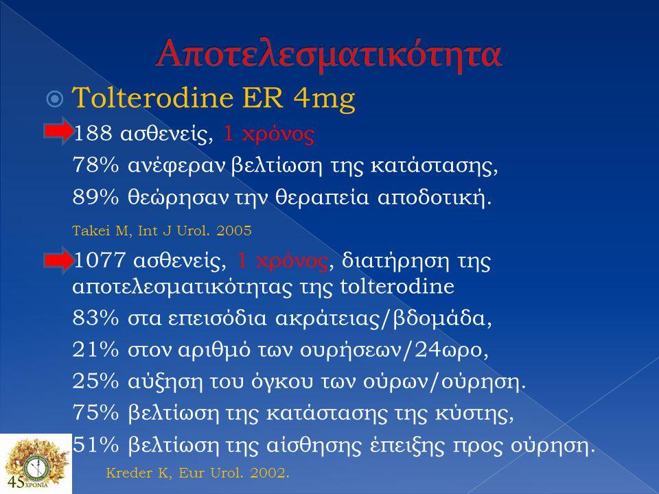 Αποτελεσματικότητα Tolterodine ER 4mg 188 ασθενείς, 1 χρόνος