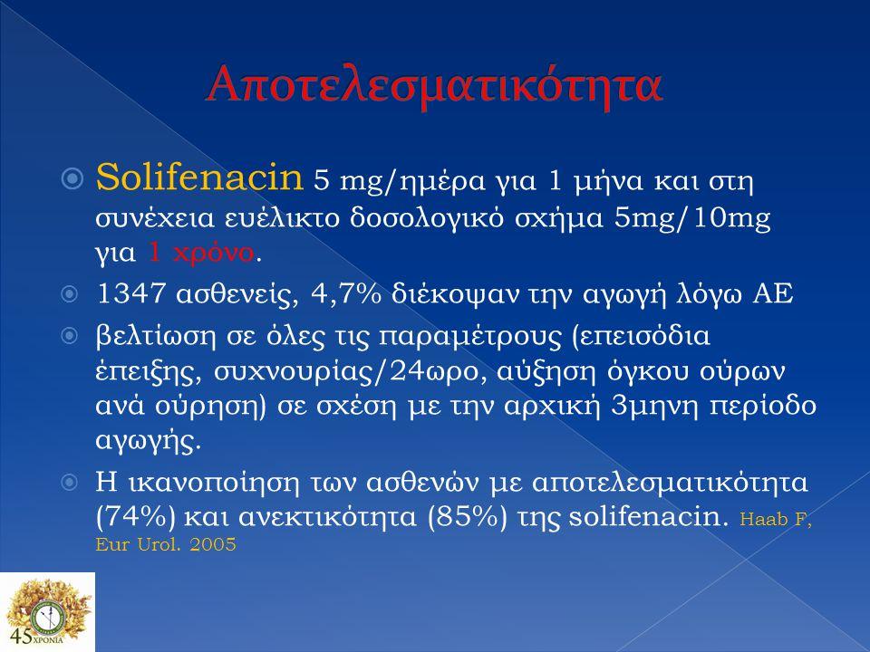 Αποτελεσματικότητα Solifenacin 5 mg/ημέρα για 1 μήνα και στη συνέχεια ευέλικτο δοσολογικό σχήμα 5mg/10mg για 1 χρόνο.
