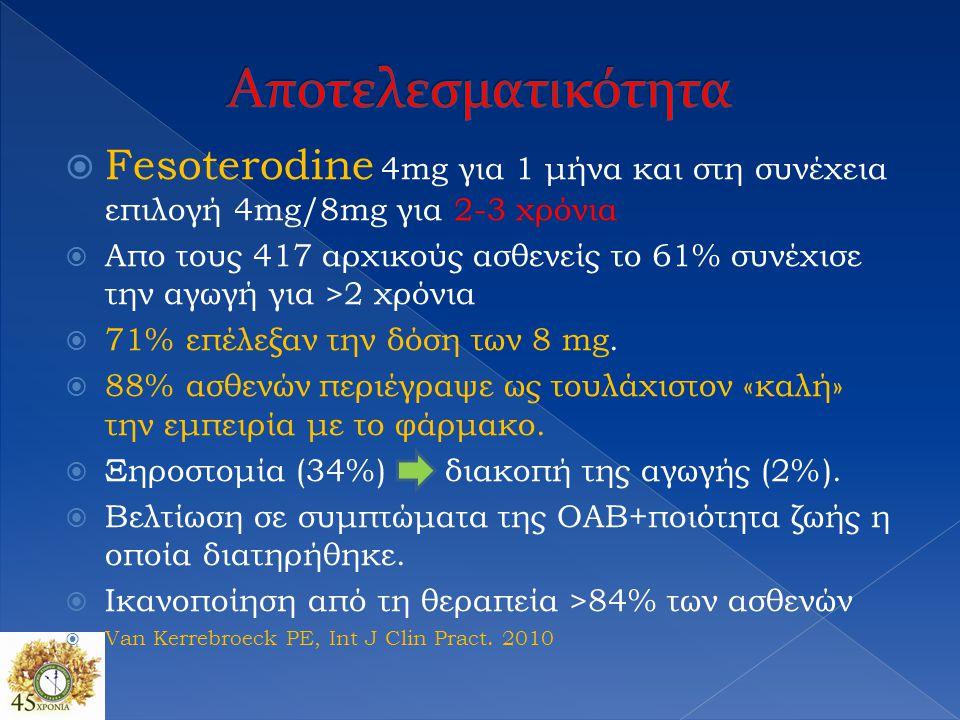 Αποτελεσματικότητα Fesoterodine 4mg για 1 μήνα και στη συνέχεια επιλογή 4mg/8mg για 2-3 χρόνια.