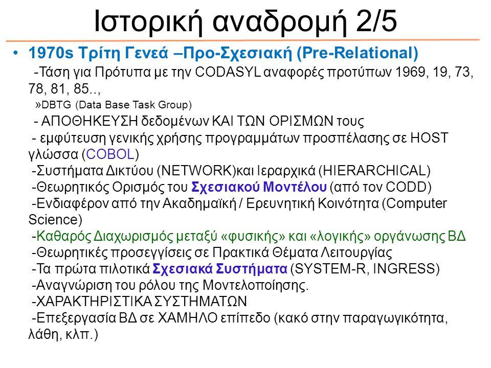 Ιστορική αναδρομή 2/5 1970s Τρίτη Γενεά –Προ-Σχεσιακή (Pre-Relational)