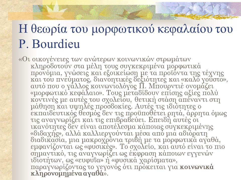 Η θεωρία του μορφωτικού κεφαλαίου του Ρ. Bourdieu