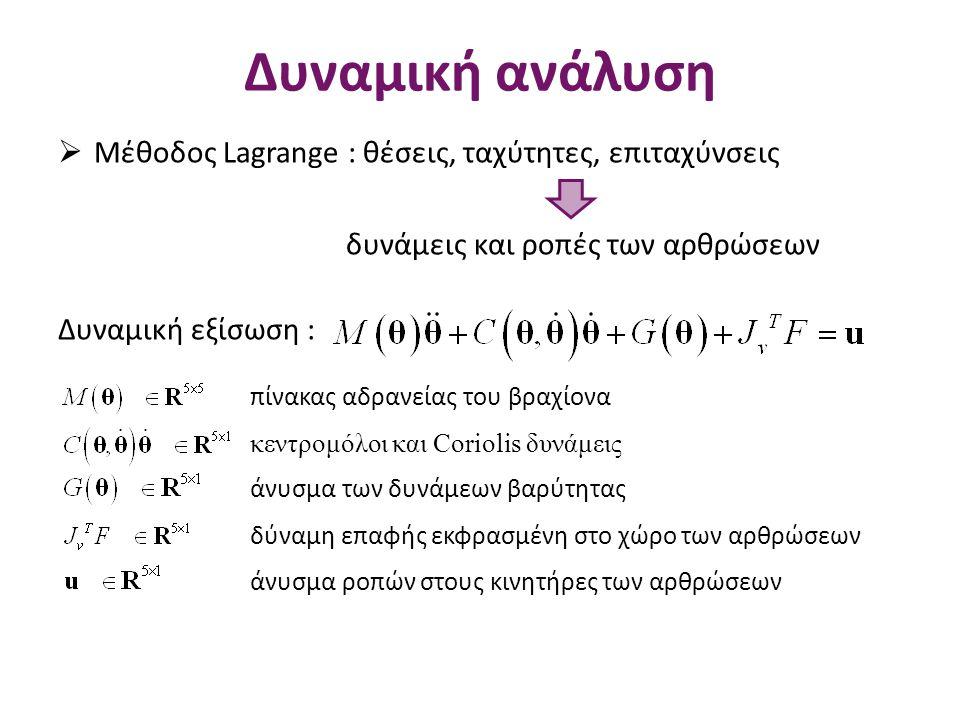 Δυναμική ανάλυση Μέθοδος Lagrange : θέσεις, ταχύτητες, επιταχύνσεις
