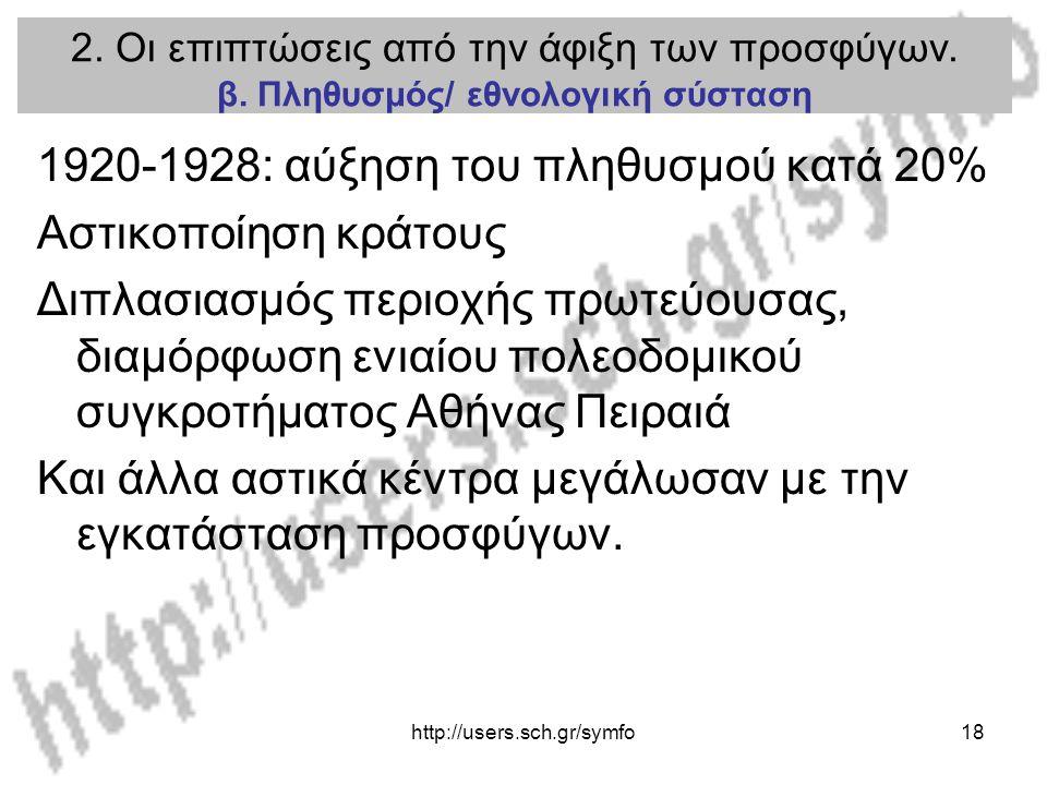 1920-1928: αύξηση του πληθυσμού κατά 20% Αστικοποίηση κράτους