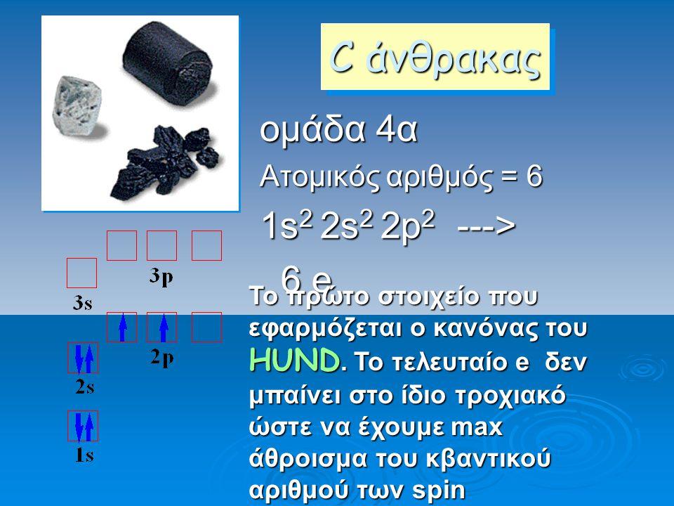 C άνθρακας ομάδα 4α 1s2 2s2 2p2 ---> 6 e Ατομικός αριθμός = 6