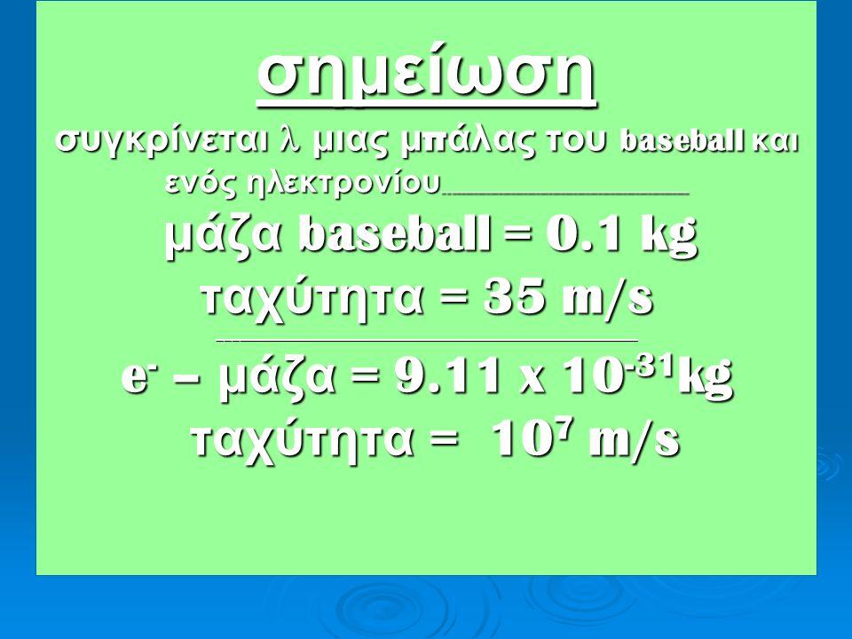 σημείωση συγκρίνεται l μιας μπάλας του baseball και ενός ηλεκτρονίου___________________________________________________________ μάζα baseball = 0.1 kg ταχύτητα = 35 m/s ___________________________________________________________ e- – μάζα = 9.11 x 10-31kg ταχύτητα = 107 m/s