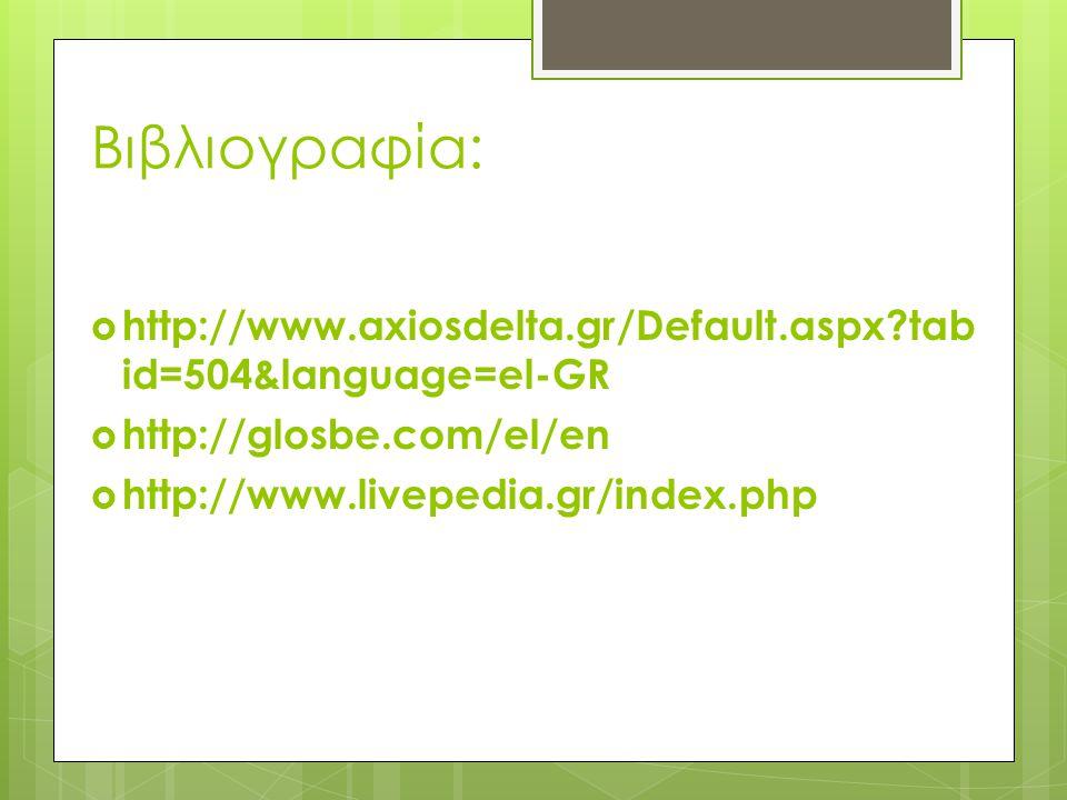 Βιβλιογραφία: http://www.axiosdelta.gr/Default.aspx tabid=504&language=el-GR. http://glosbe.com/el/en.
