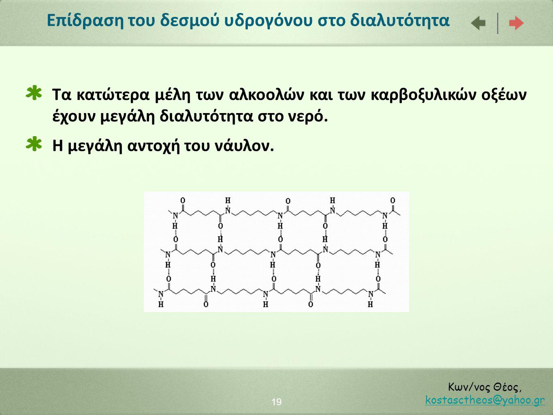 Επίδραση του δεσμού υδρογόνου στο διαλυτότητα