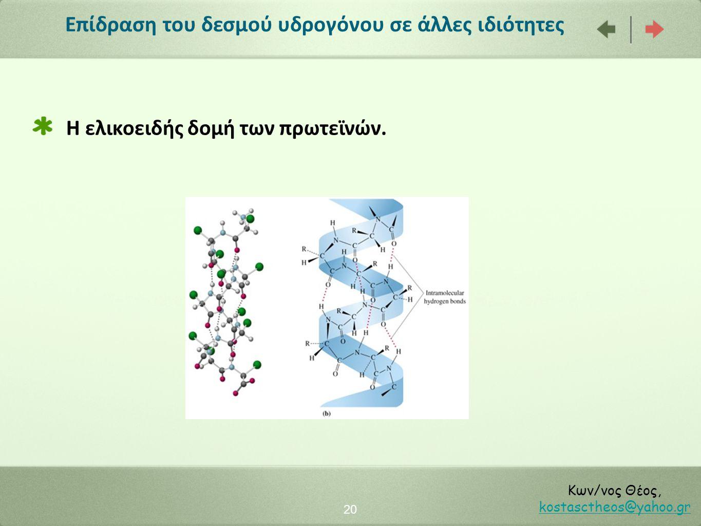 Επίδραση του δεσμού υδρογόνου σε άλλες ιδιότητες