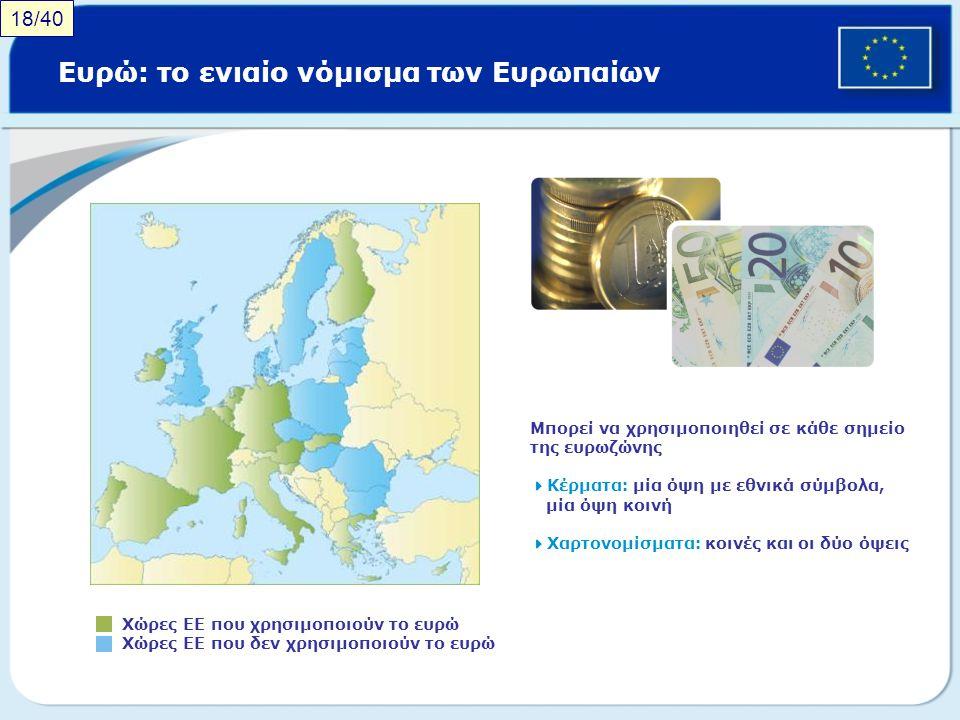 Ευρώ: το ενιαίο νόμισμα των Ευρωπαίων
