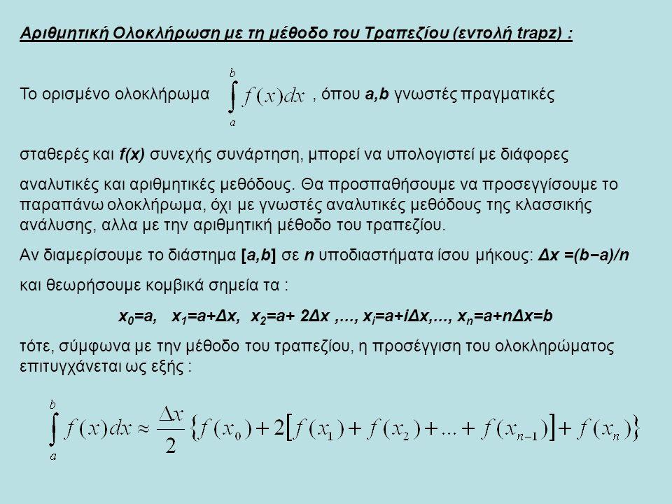 x0=a, x1=a+Δx, x2=a+ 2Δx ,..., xi=a+iΔx,..., xn=a+nΔx=b
