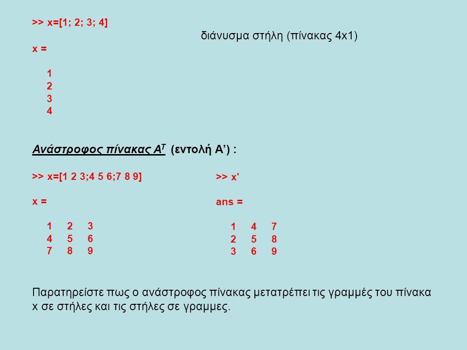 διάνυσμα στήλη (πίνακας 4x1)
