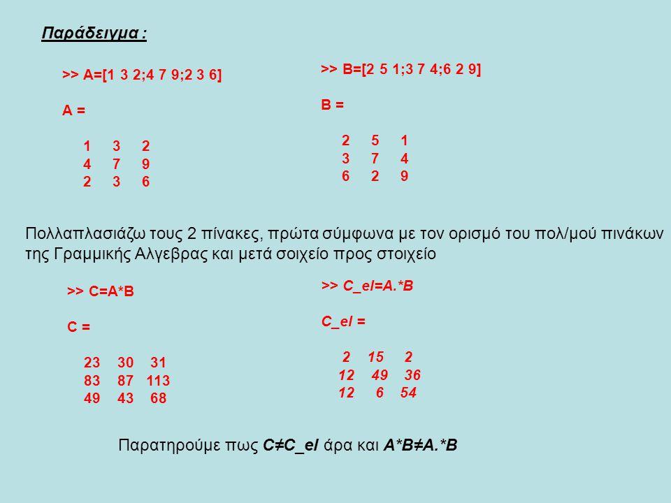 Παρατηρούμε πως C≠C_el άρα και Α*Β≠Α.*Β