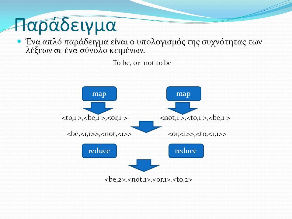 Παράδειγμα Ένα απλό παράδειγμα είναι ο υπολογισμός της συχνότητας των λέξεων σε ένα σύνολο κειμένων.