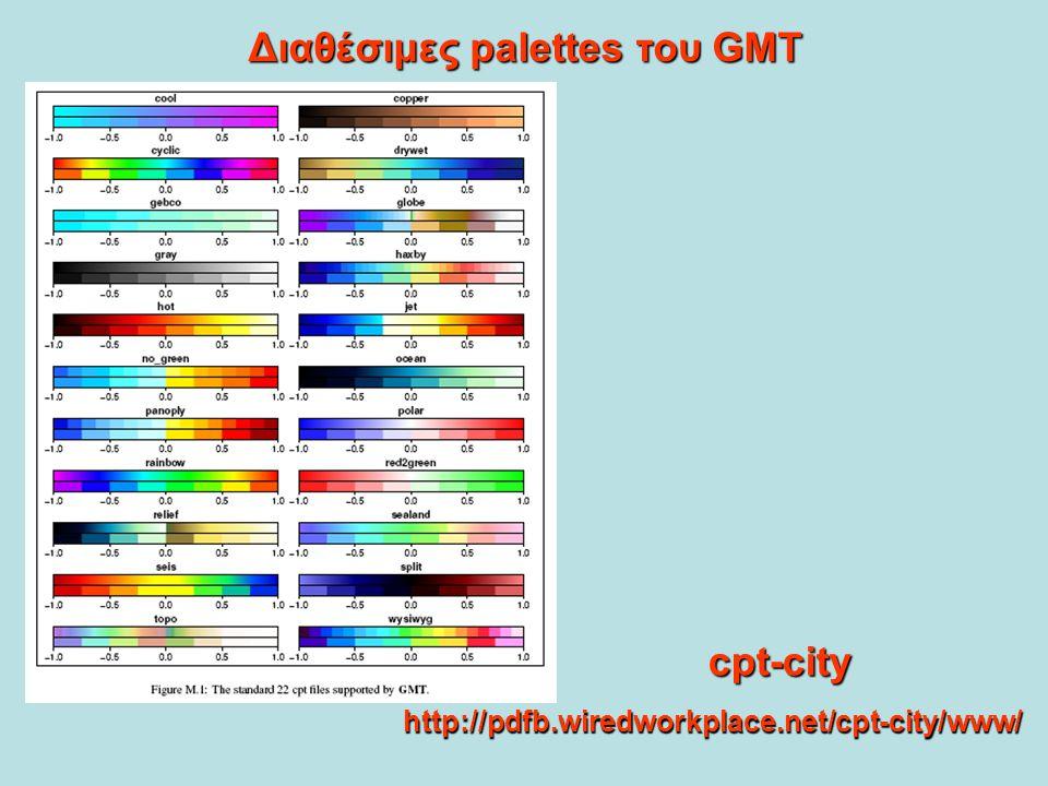 Διαθέσιμες palettes του GMT