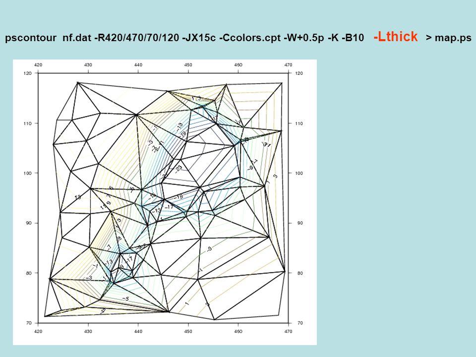 pscontour nf. dat -R420/470/70/120 -JX15c -Ccolors. cpt -W+0