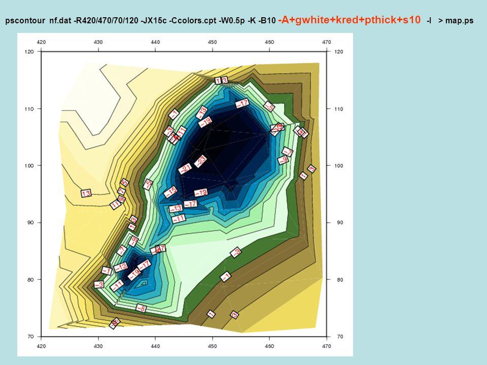 pscontour nf. dat -R420/470/70/120 -JX15c -Ccolors. cpt -W0