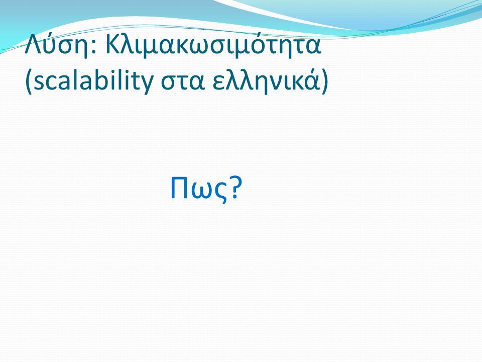 Λύση: Κλιμακωσιμότητα (scalability στα ελληνικά)
