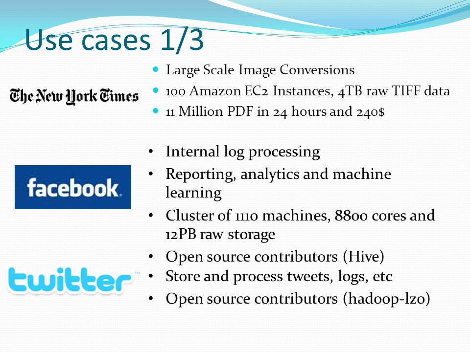 Use cases 1/3 Internal log processing