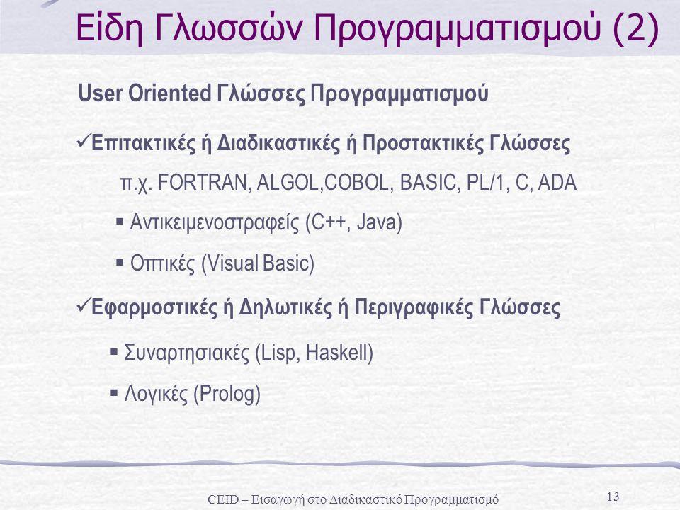 Είδη Γλωσσών Προγραμματισμού (2)