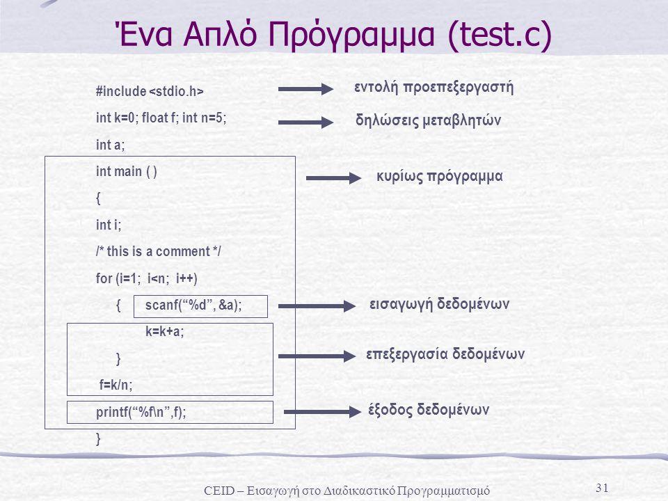 Ένα Απλό Πρόγραμμα (test.c)
