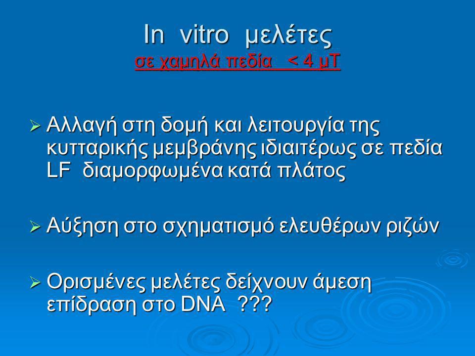 In vitro μελέτες σε χαμηλά πεδία < 4 μΤ