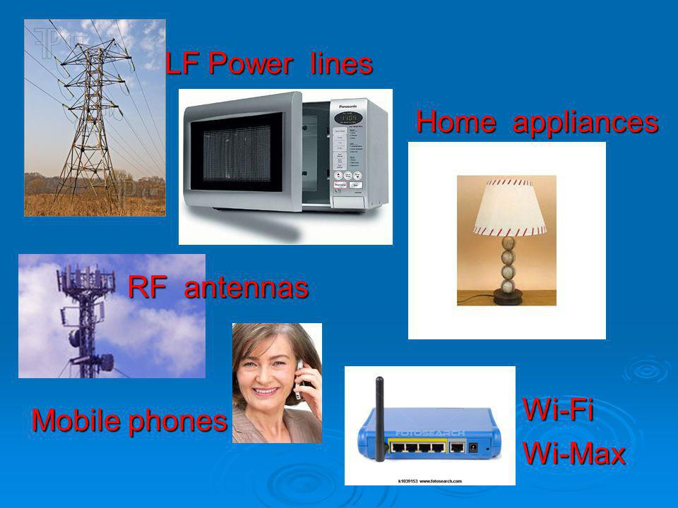 LF Power lines Home appliances RF antennas Wi-Fi Wi-Max Mobile phones