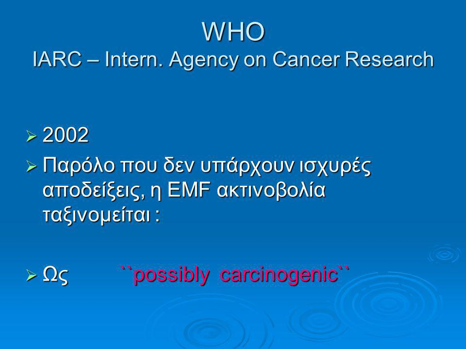 WHO IARC – Intern. Agency on Cancer Research