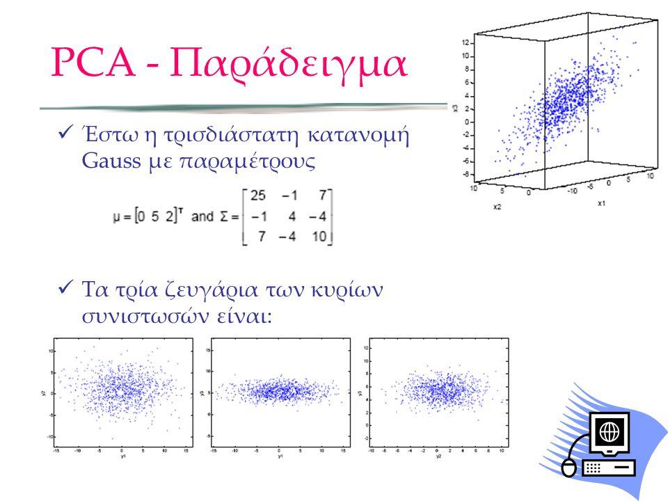 PCA - Παράδειγμα Έστω η τρισδιάστατη κατανομή Gauss με παραμέτρους