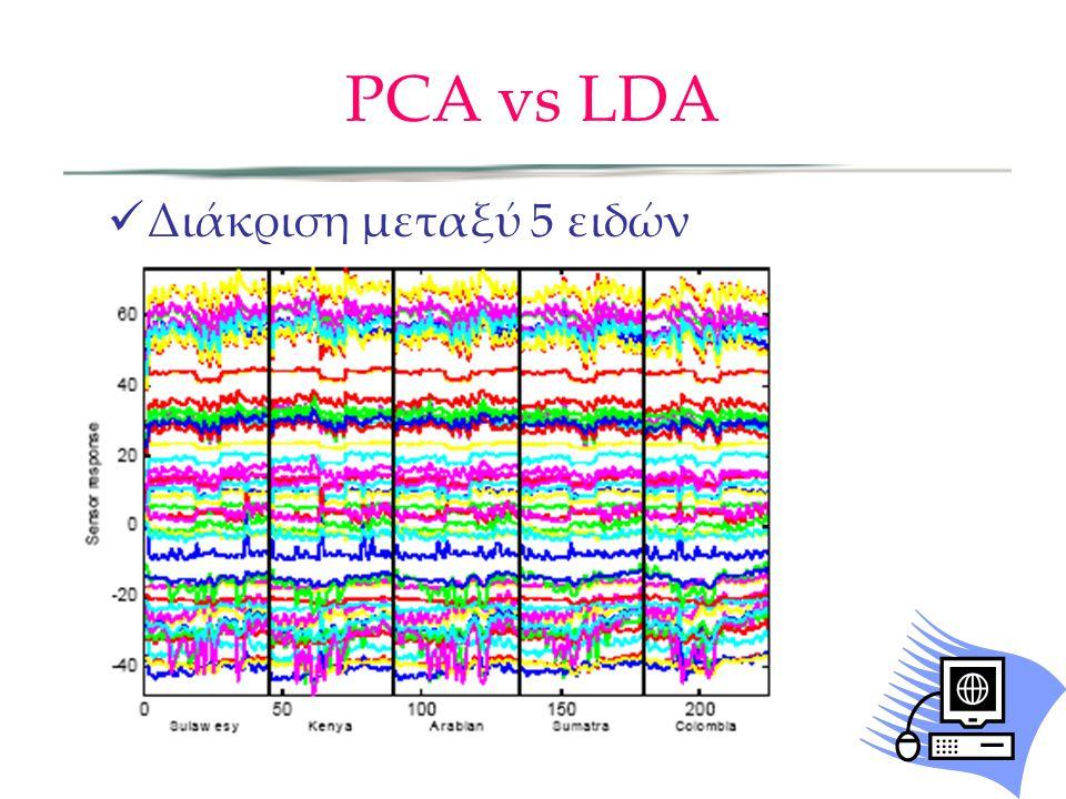 PCA vs LDA Διάκριση μεταξύ 5 ειδών καφέ