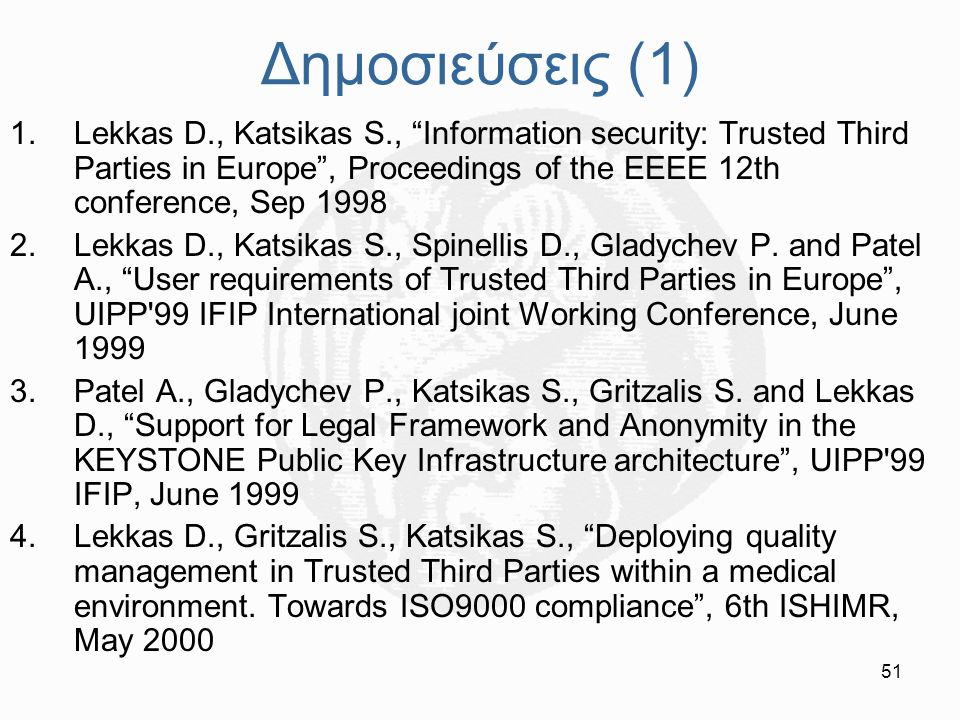 Δημοσιεύσεις (1) Lekkas D., Katsikas S., Information security: Trusted Third Parties in Europe , Proceedings of the EEEE 12th conference, Sep 1998.