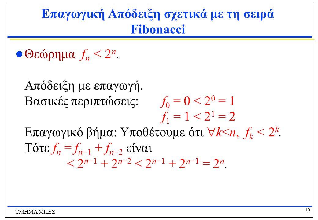 Επαγωγική Απόδειξη σχετικά με τη σειρά Fibonacci