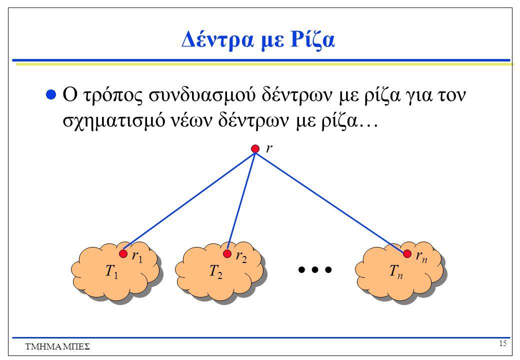 Δέντρα με Ρίζα Ο τρόπος συνδυασμού δέντρων με ρίζα για τον σχηματισμό νέων δέντρων με ρίζα… r. … T1.