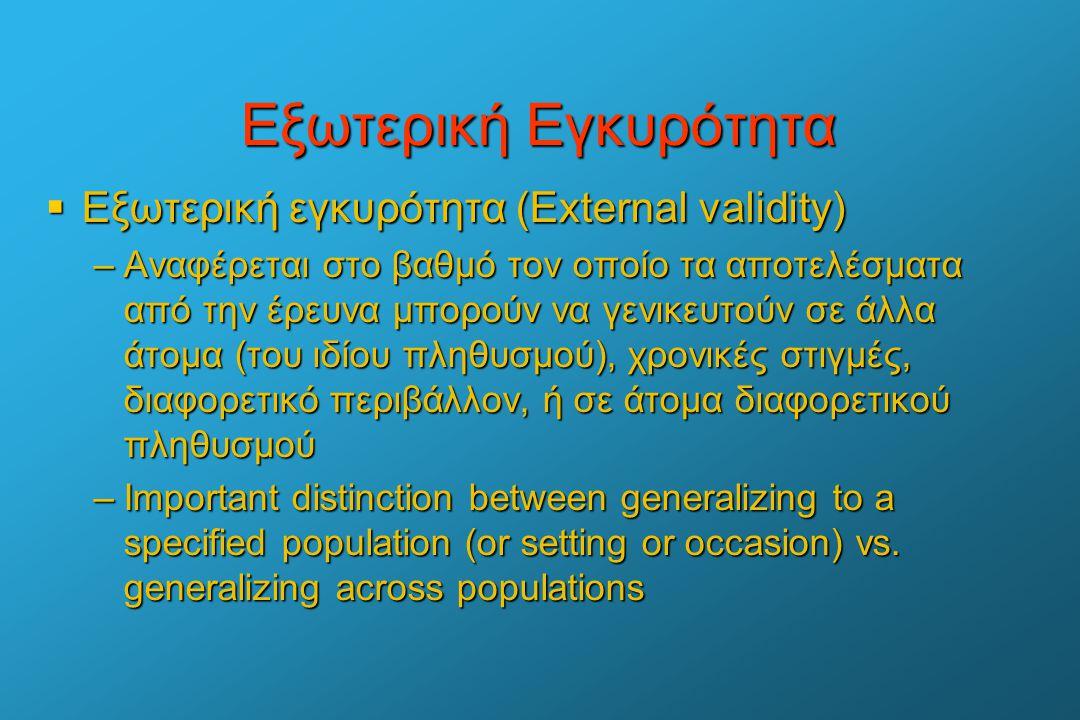 Εξωτερική Εγκυρότητα Εξωτερική εγκυρότητα (External validity)