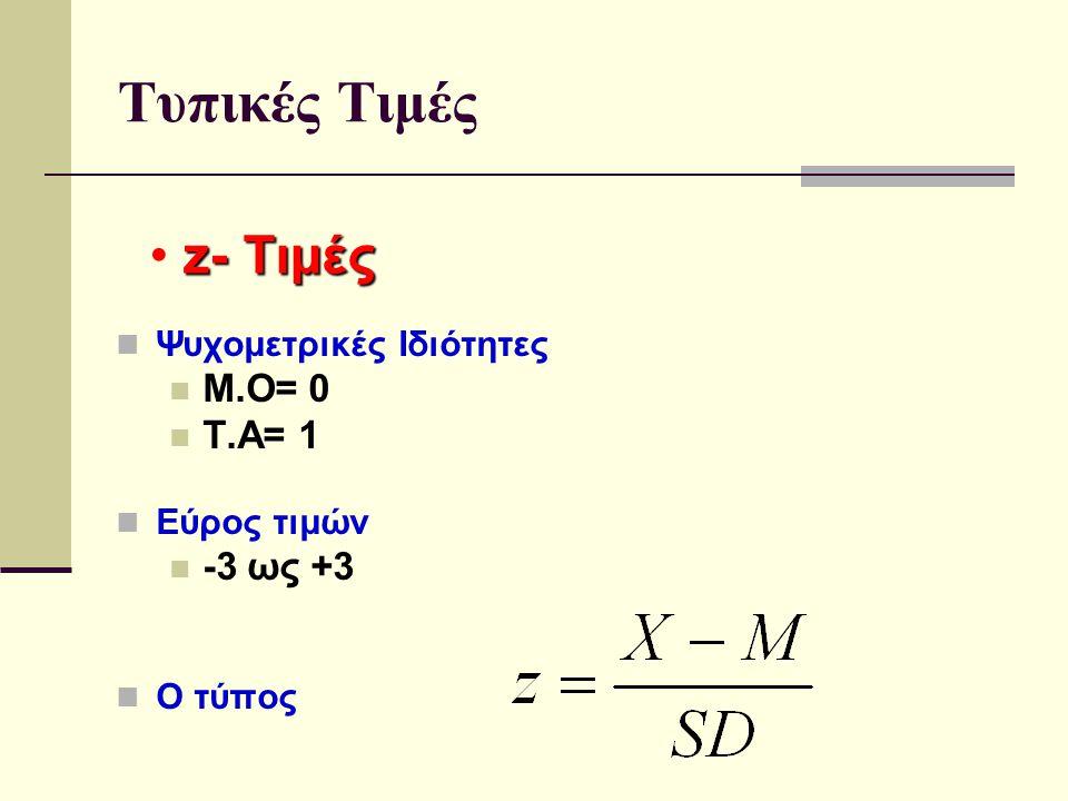 Τυπικές Τιμές z- Τιμές Μ.Ο= 0 Τ.Α= 1 -3 ως +3 Ψυχομετρικές Ιδιότητες