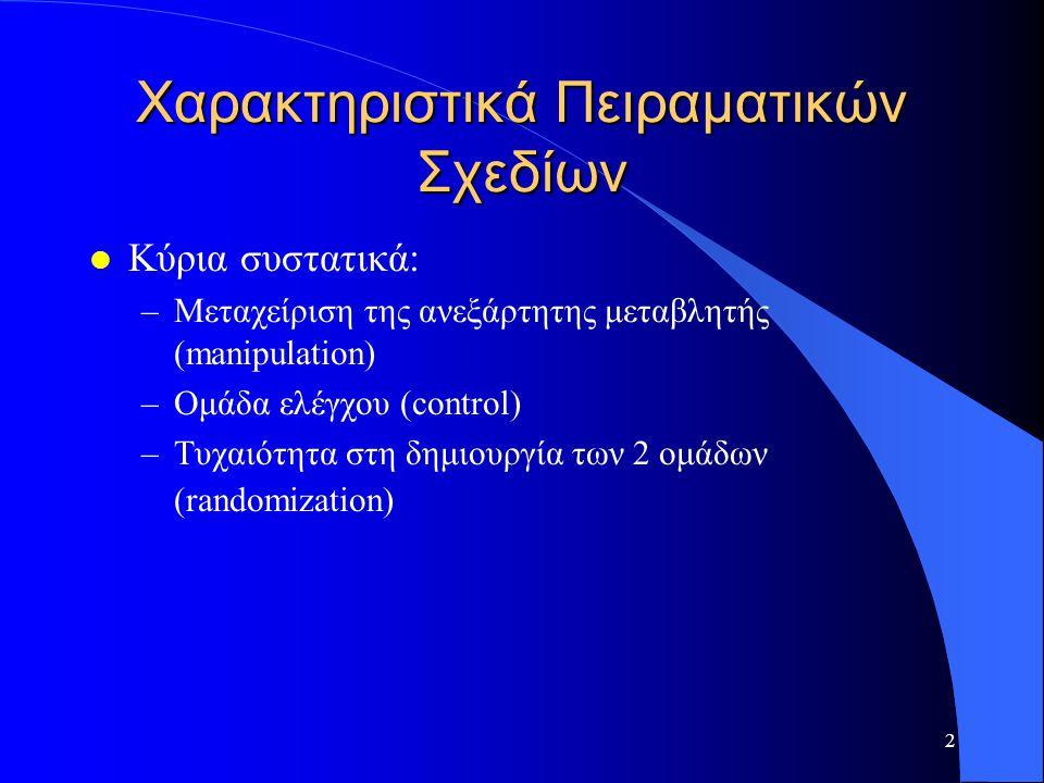 Χαρακτηριστικά Πειραματικών Σχεδίων