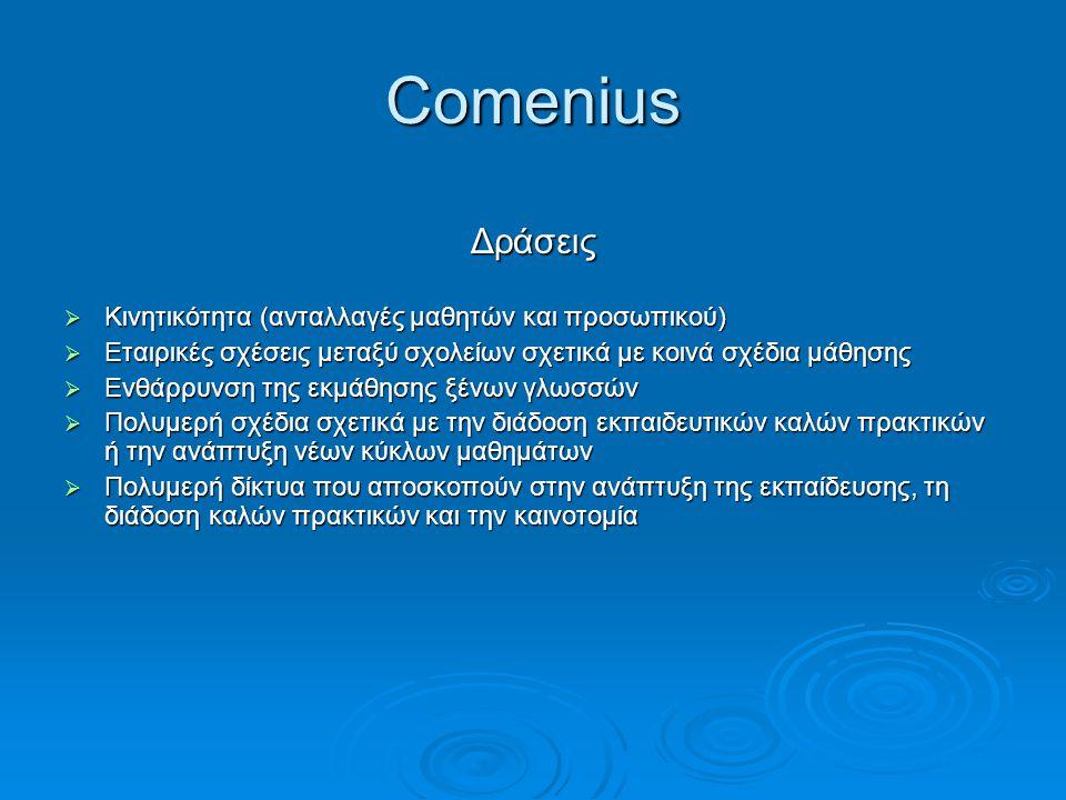 Comenius Δράσεις Κινητικότητα (ανταλλαγές μαθητών και προσωπικού)