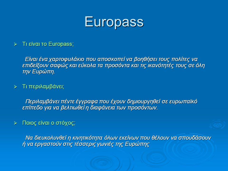 Europass Τι είναι το Europass;