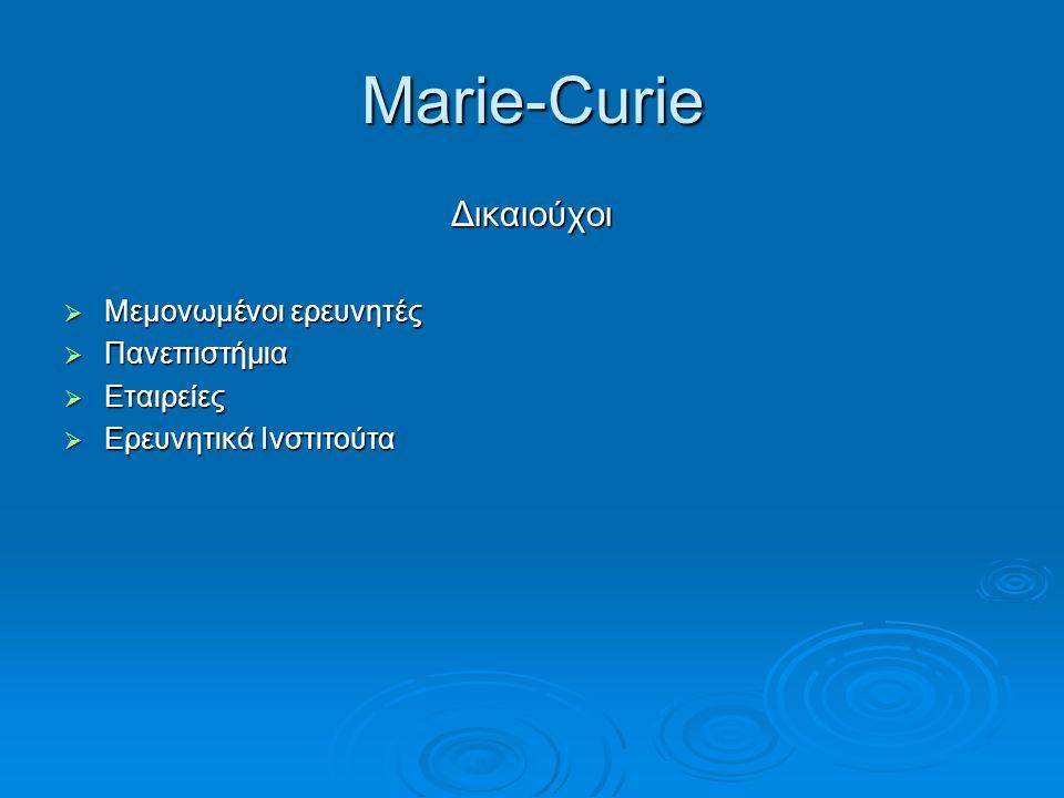 Marie-Curie Δικαιούχοι Μεμονωμένοι ερευνητές Πανεπιστήμια Εταιρείες