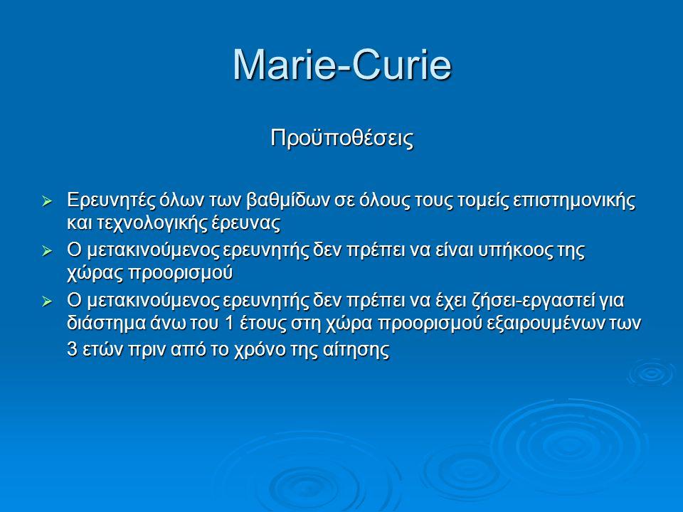 Marie-Curie Προϋποθέσεις