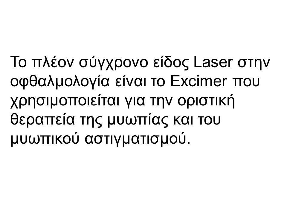 Το πλέον σύγχρονο είδος Laser στην οφθαλμολογία είναι το Excimer που χρησιμοποιείται για την οριστική θεραπεία της μυωπίας και του μυωπικού αστιγματισμού.