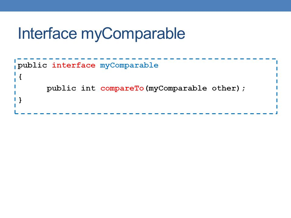 Interface myComparable