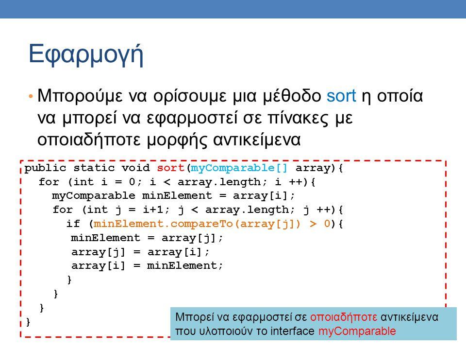 Εφαρμογή Μπορούμε να ορίσουμε μια μέθοδο sort η οποία να μπορεί να εφαρμοστεί σε πίνακες με οποιαδήποτε μορφής αντικείμενα.
