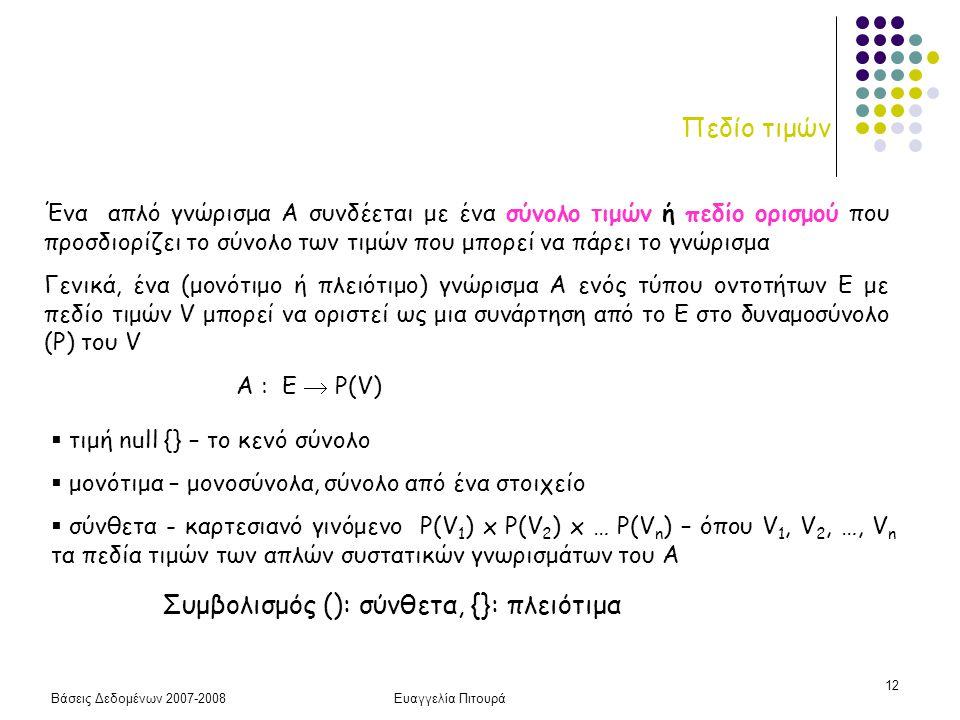 Συμβολισμός (): σύνθετα, {}: πλειότιμα