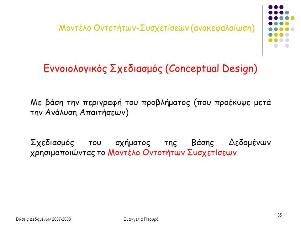 Μοντέλο Οντοτήτων-Συσχετίσεων (ανακεφαλαίωση)