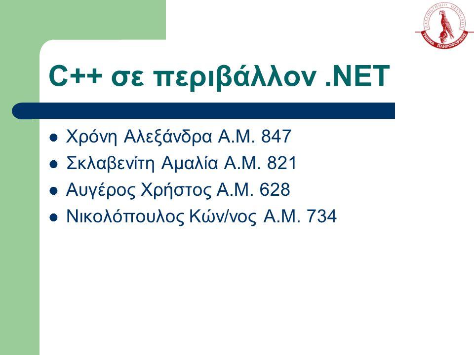 C++ σε περιβάλλον .NET Χρόνη Αλεξάνδρα Α.Μ. 847