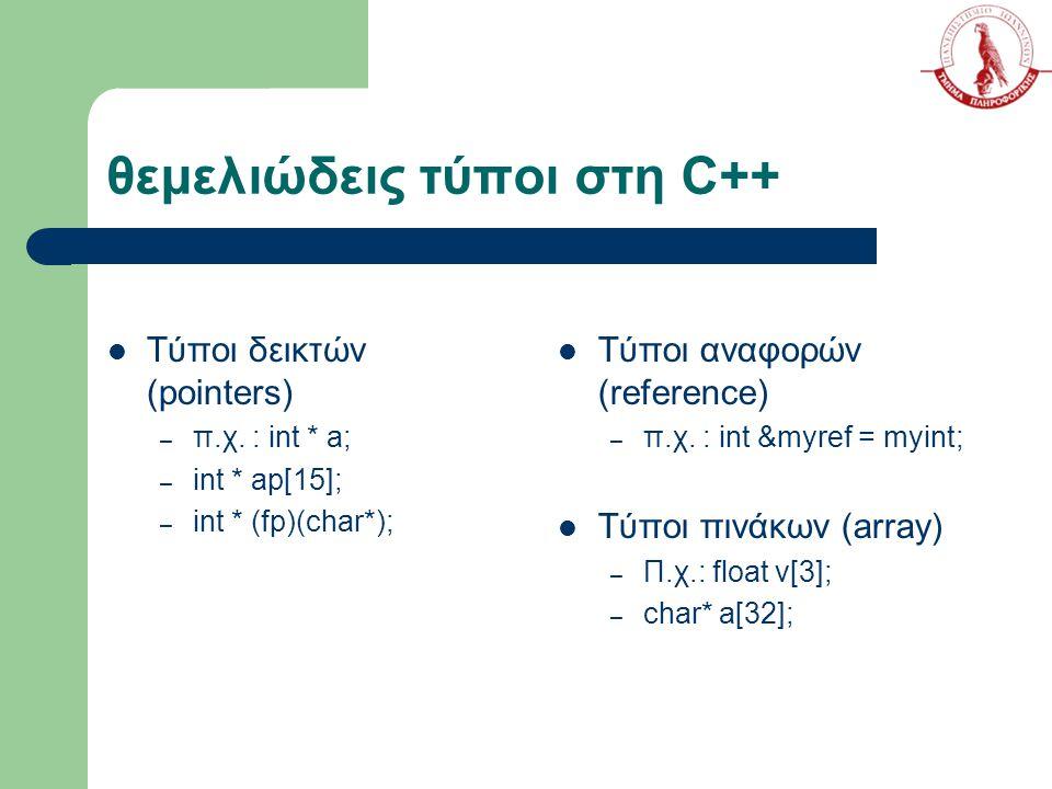 θεμελιώδεις τύποι στη C++