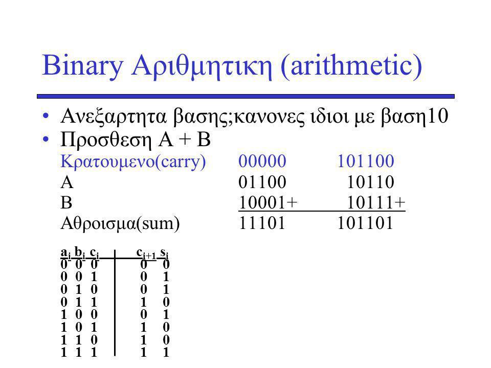 Binary Αριθμητικη (arithmetic)