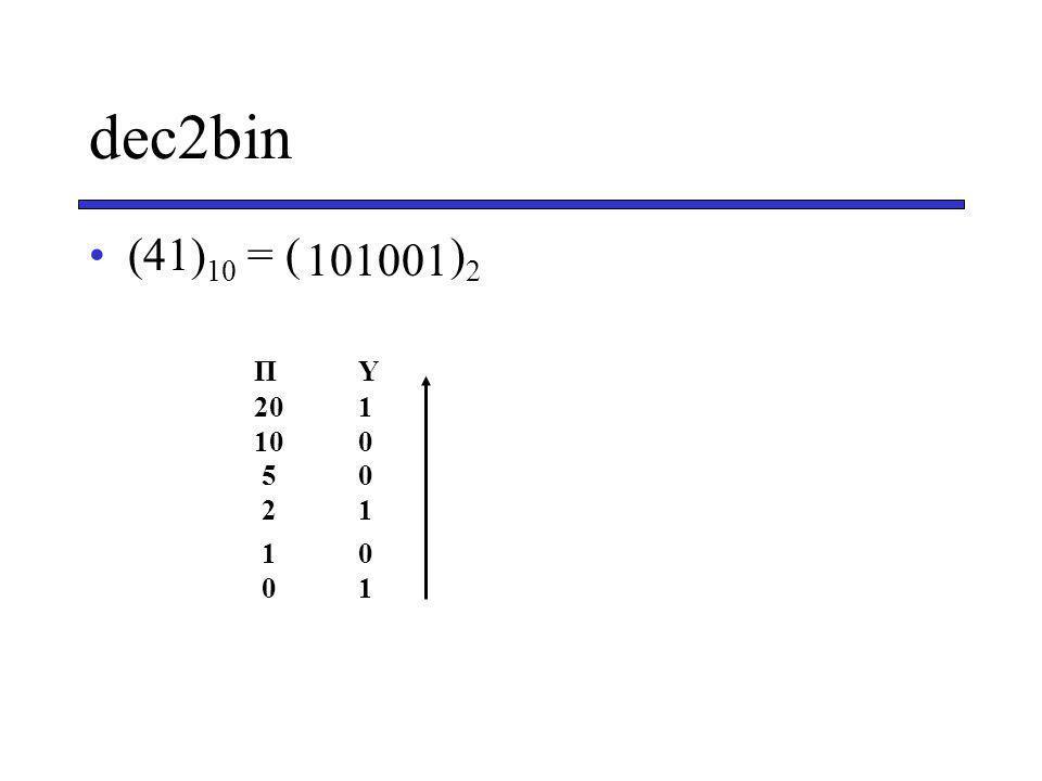 dec2bin (41)10 = ( )2 101001 Π Υ 20 1 10 0 5 0 2 1 1 0 0 1
