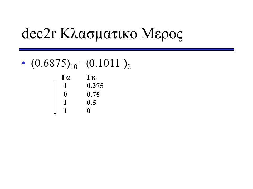 dec2r Κλασματικο Μερος (0.6875)10 =( )2 0.1011 Γα Γκ 1 0.375 0 0.75